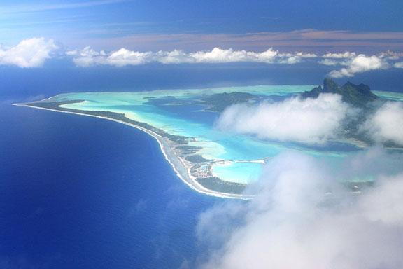aerial view of cloud-shrouded Bora Bora