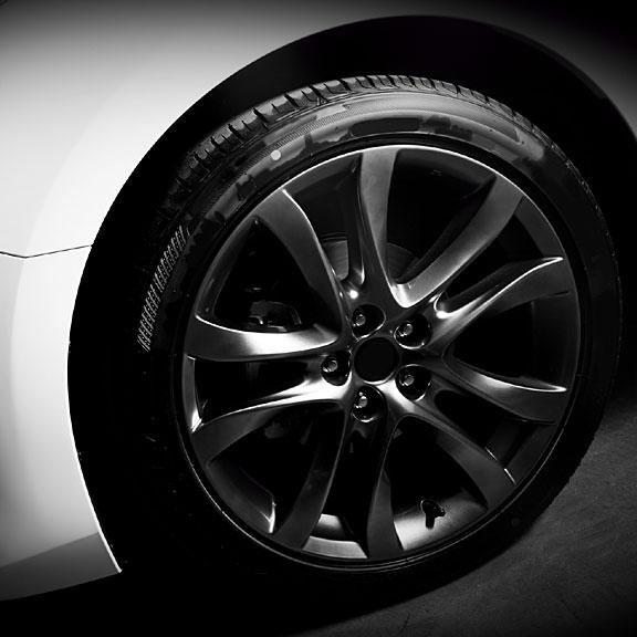 aluminum rim and low-profile tire