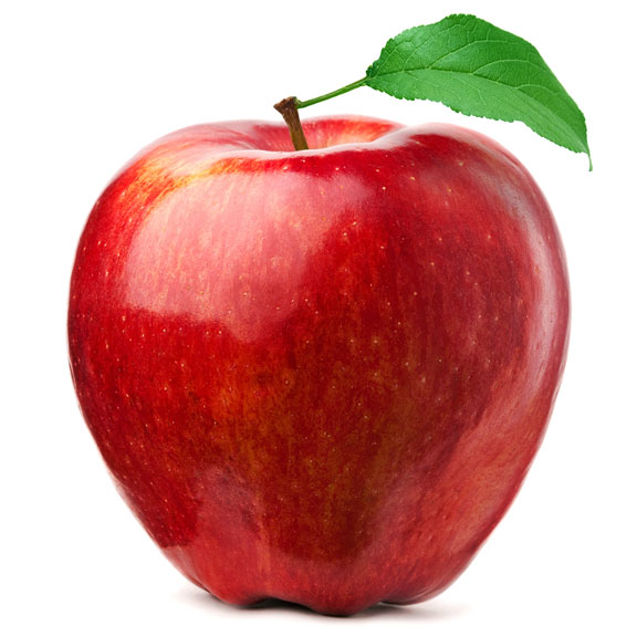red apple and green leaf