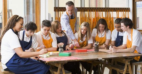 art class - teacher and students