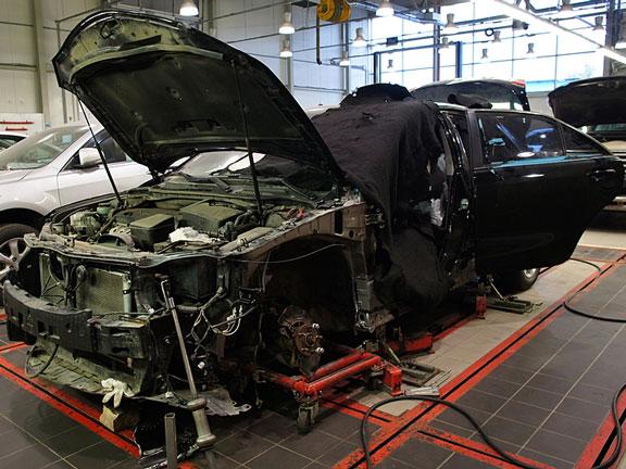 car repair at an auto body shop