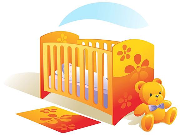 baby nursery with crib and teddy bear