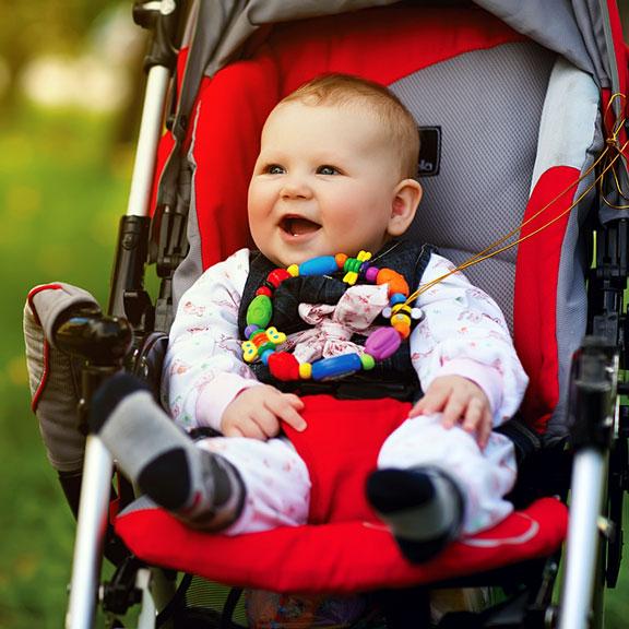 baby sitting in a stroller