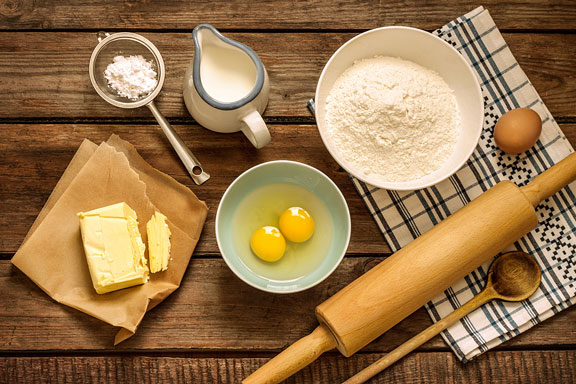 baking ingredients and utensils