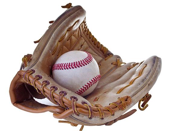 baseball glove and hardball
