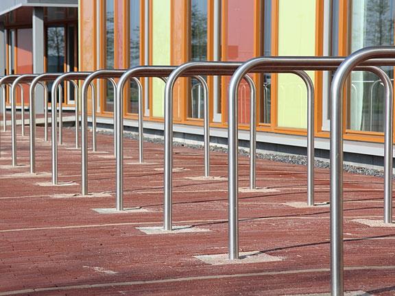 modern bike racks at an office building
