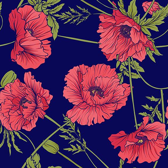 seamless botanical pattern with poppy flowers