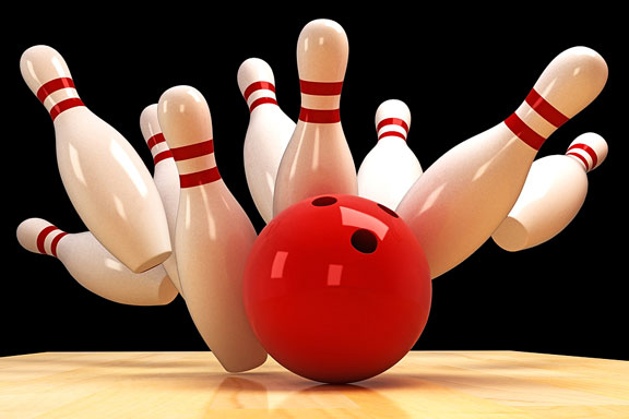 bowling ball scattering bowling pins