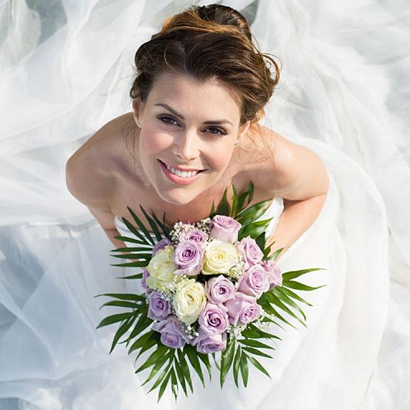 bride wearing a white wedding dress