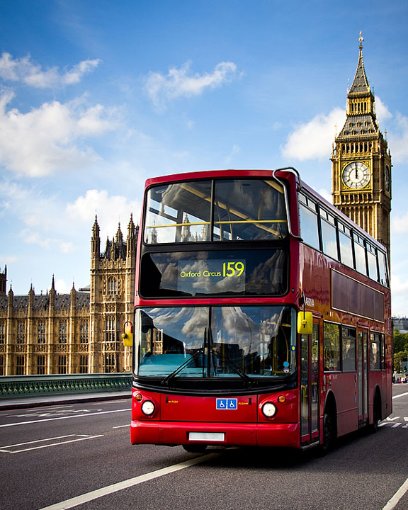 double decker bus and clock tower