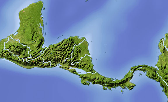 shaded relief map of Central America