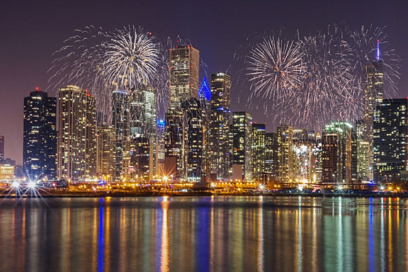 Chicago skyline at night, viewed from Lake Michigan