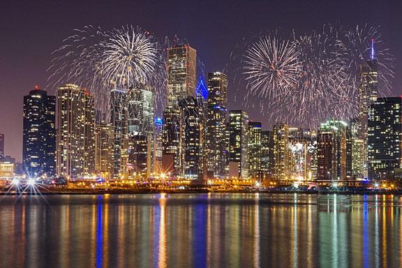Chicago skyline at night, viewed from Lake Michigan