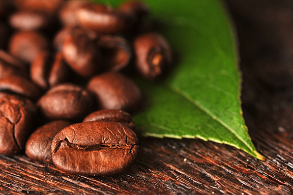 brown coffee beans and green coffee leaf