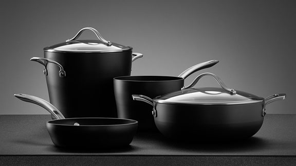 black pots and pans