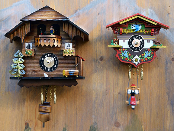 cuckoo clocks on a knotty pine wall