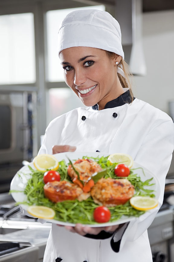 chef holding a culinary dish