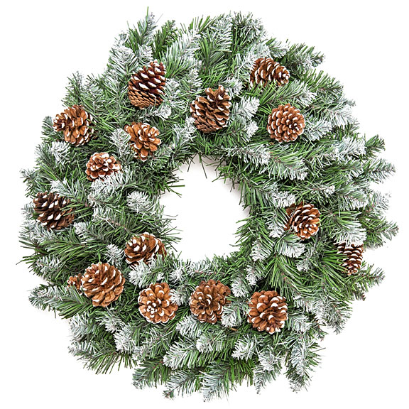 pine cone decorations on a green wreath