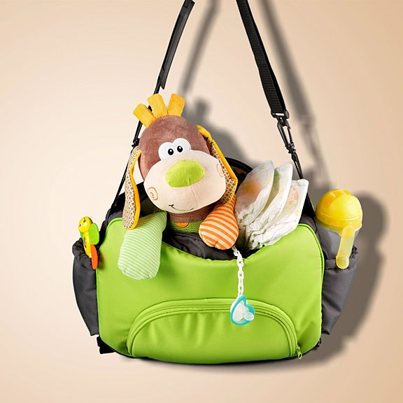 diaper bag filled with baby gear