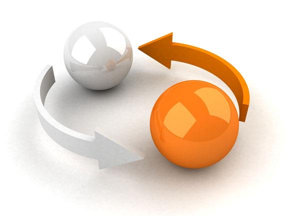 white ball, orange ball, and two arrows
