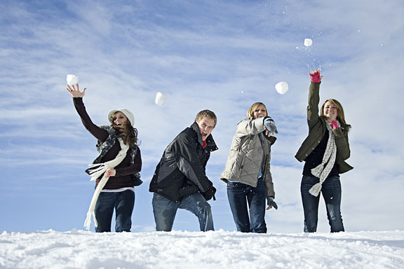 snowball fight on a winter day
