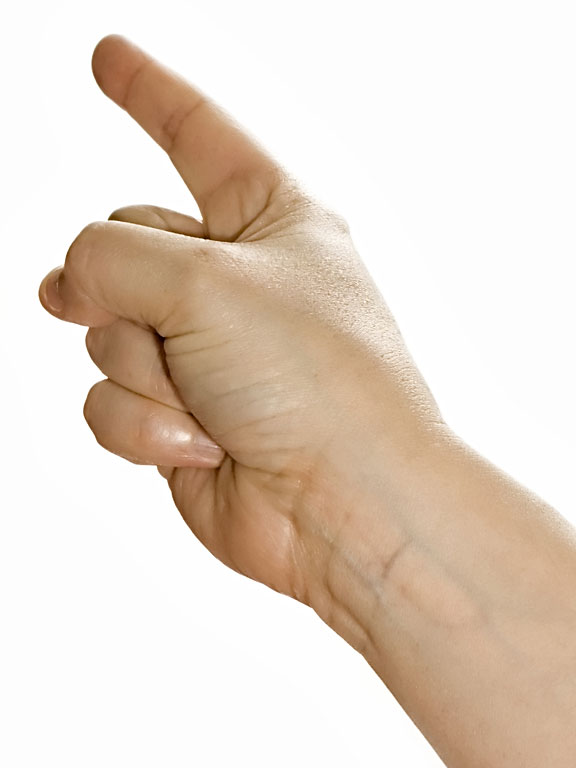 right hand with pointed finger