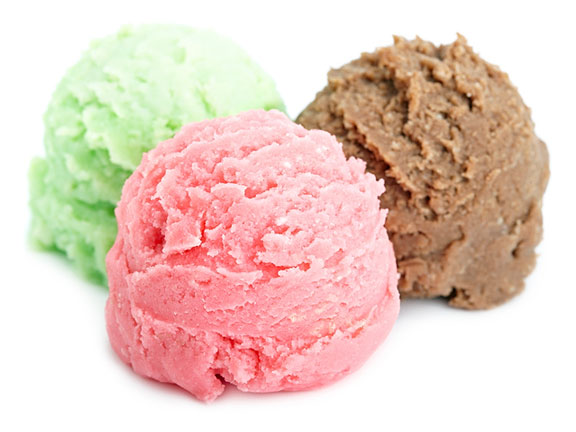 three ice cream colors and flavors