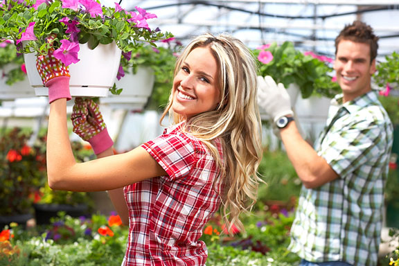 florists working with flowers and plants