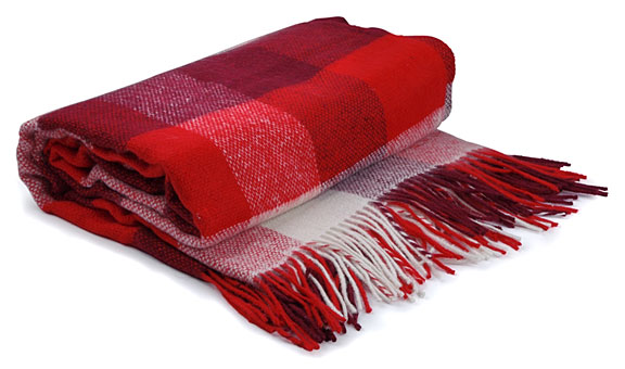 fringed blanket with red checked pattern