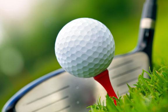 golf club, golf ball, and golf tee