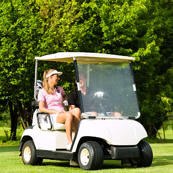 golf cart on a beautiful golf course
