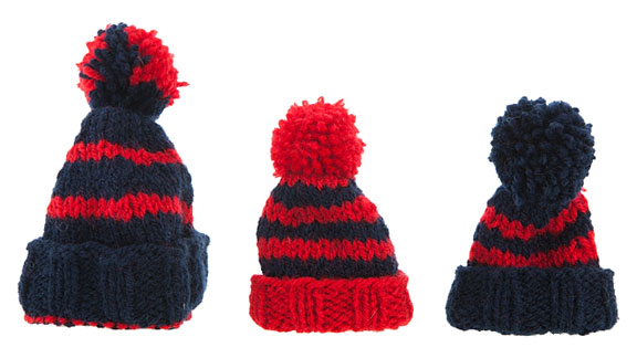 red and blue knitted hats