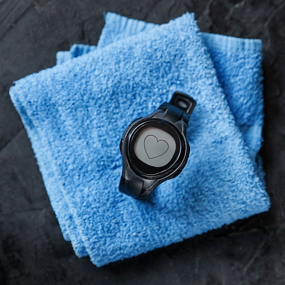 heart rate monitor on a towel