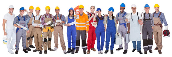 workers wearing safety helmets