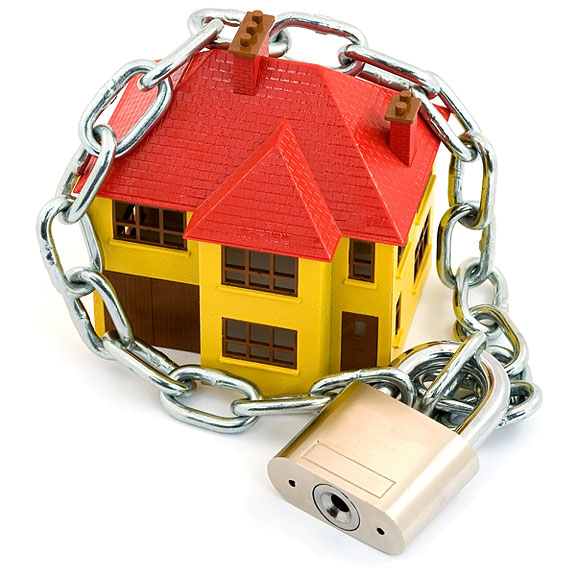 model home, padlock, and chain