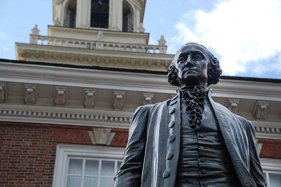 Independence Hall and George Washington statue
