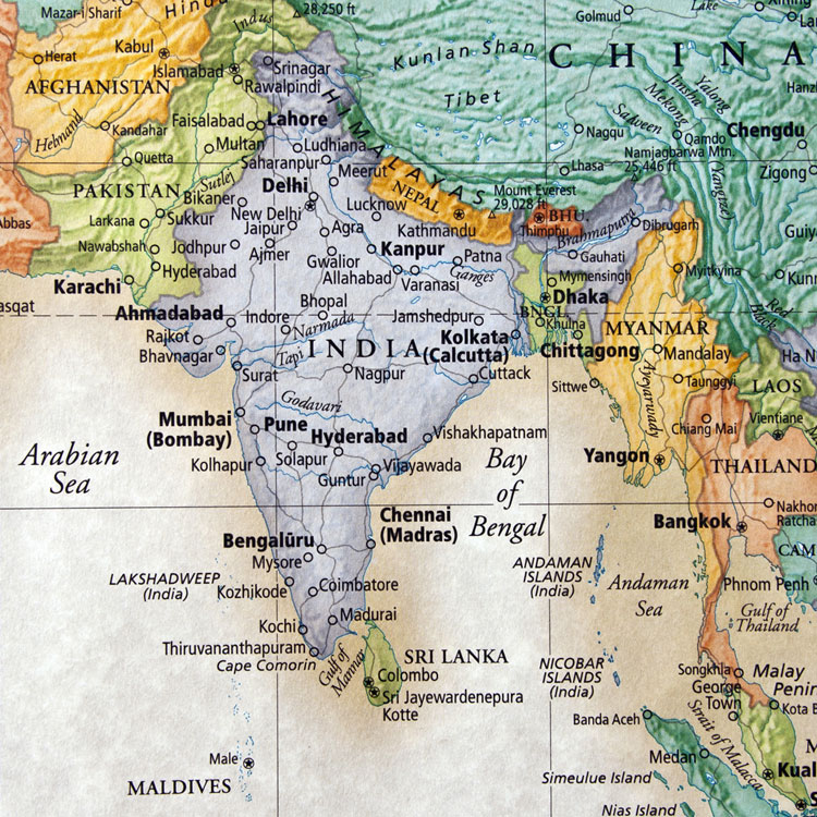 relief map of India