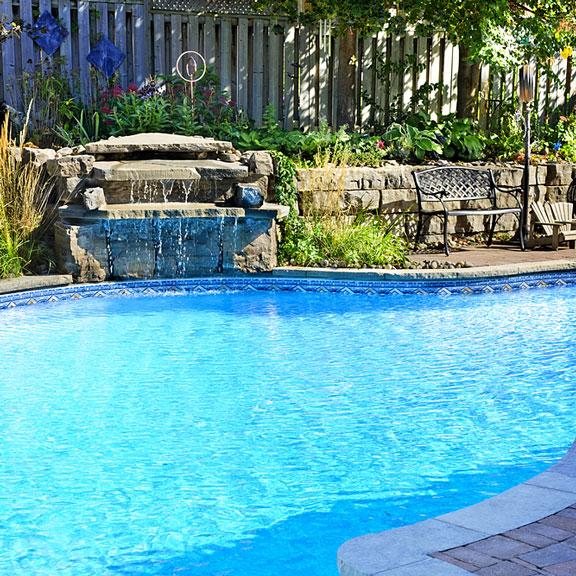 landscaped inground pool