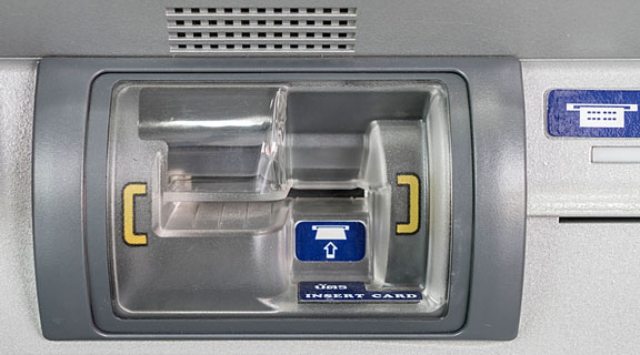 bank card insertion slot on an ATM