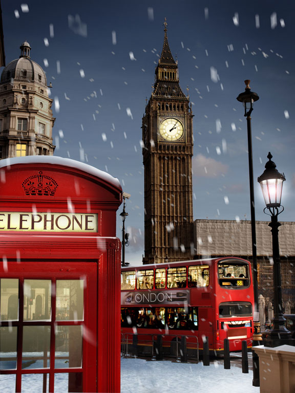 snow falling in London, England