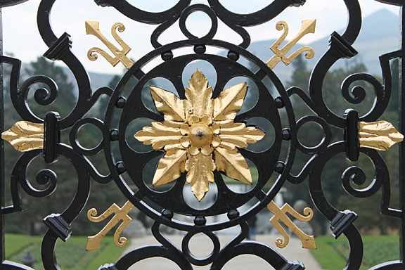 black and gold wrought iron gate in Ireland
