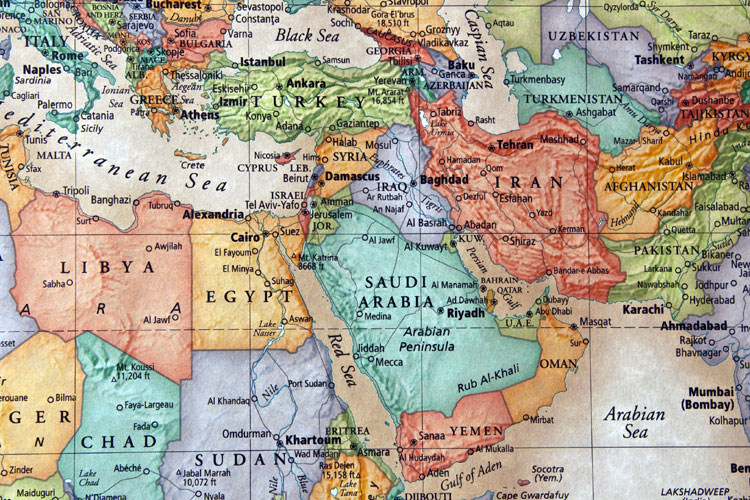 relief map of the middle east