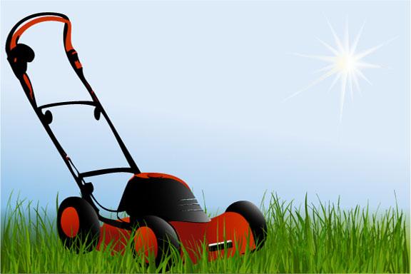 power lawn mower on grass