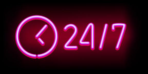 open 24/7 neon sign
