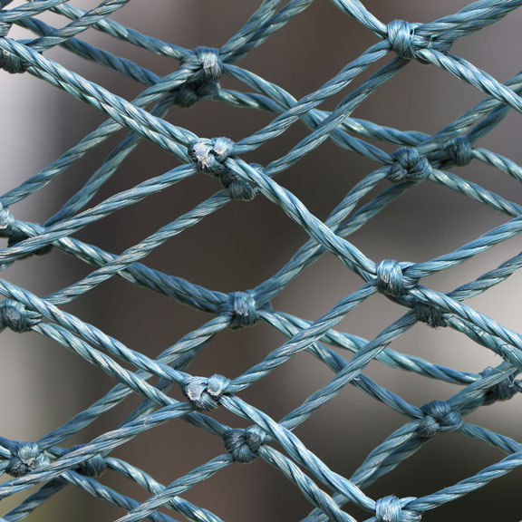 blue nylon netting - close-up