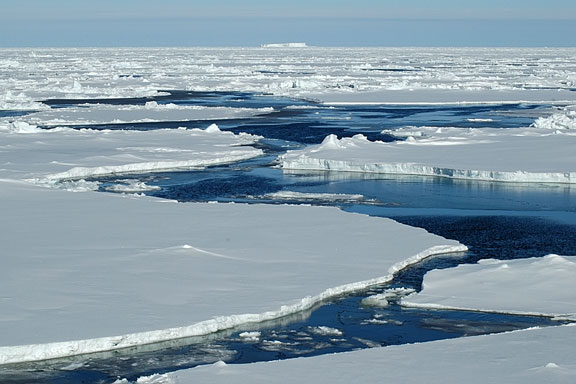 pack ice floes near open water