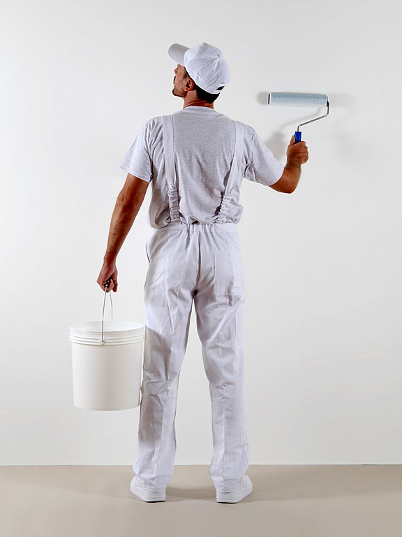 painter with paint bucket and paint roller