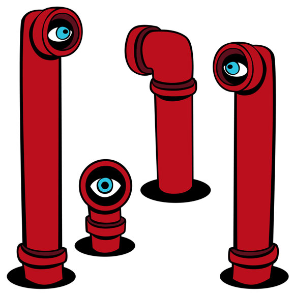 four red periscopes