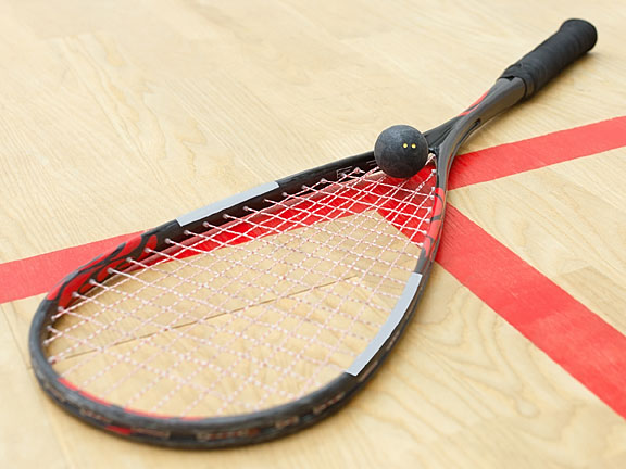 squash racquet and squash ball