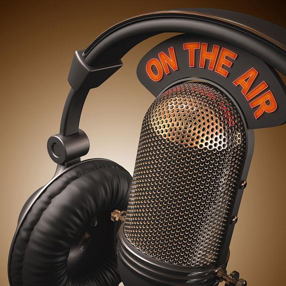 radio microphone and headphones